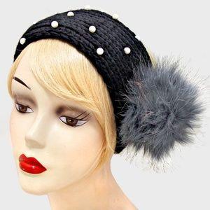 Cream Pearl & Black Pom Pom Knit Earmuff Headband